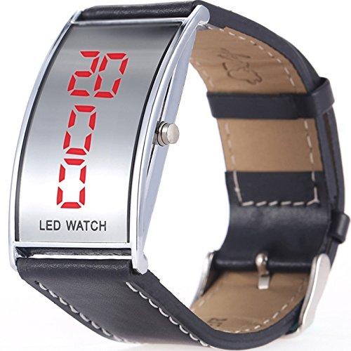 Art und Weiseduenner digitale gefuehrte beilaeufige Uhr Lederband Armbanduhr Farbe Schwarz Grossauswahl Einheitsgroesse