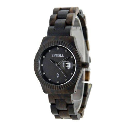 Handgefertigt aus Holz rund Armbanduhr aus natuerlichen Holz in Dunkelbraun fuer Frauen hgw 199