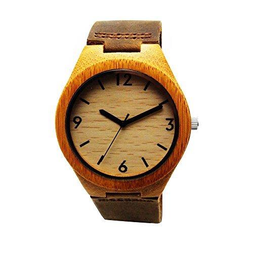 Handgefertigt Holz Armbanduhr aus mit natuerlichen Bambus Holz in Braun Lederband hgw 155