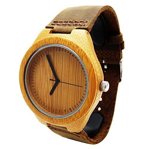 Handgefertigt Holz Armbanduhr aus mit natuerlichen Bambus Holz in Braun Lederband hgw 158