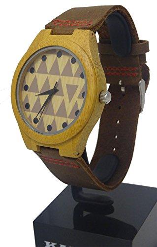 Handgefertigt Tribal Design Holz Armbanduhr aus mit natuerlichen Bambus Holz in Braun Lederband mit Rot stitching hgw 249
