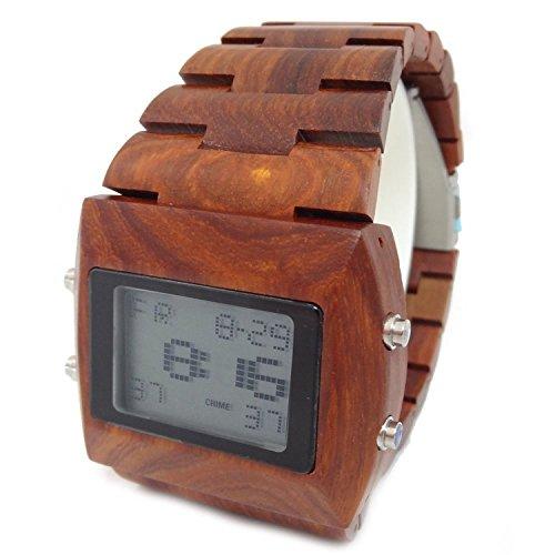 Handgefertigt aus Holz Armbanduhr aus natuerlichen Sandelholz in dunklen Rot hgw 128