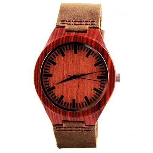 Handgefertigt aus Holz Armbanduhr aus natuerlichen rot Sandelholz in braun Leder Gurt hgw 159