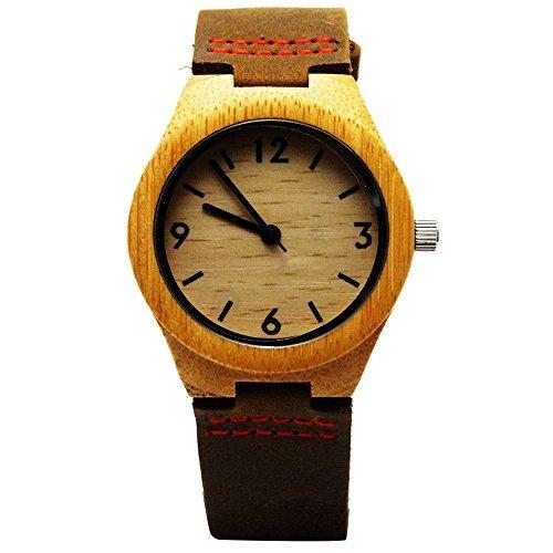 Handgefertigt Holz Armbanduhr aus mit natuerlichen Bambus Holz in Braun Leder Schulterriemen mit Rot Naehten hgw 154