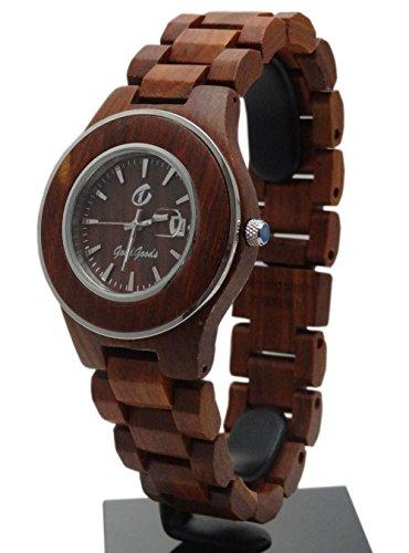 Handgefertigt aus Holz Armbanduhr aus natuerlichen Holz in rot hgw 181
