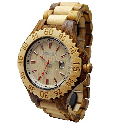 Hand Made Damen Holz Handgelenk Uhren Quarz mit festen natuerlichen Zebrano Datum Kalender hgw 167