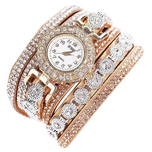 Sunnywill CCQ Frauen Maedchen Damen Schoene Mode Design Strass Armband fuer Weibliche Beige