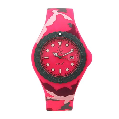 TOY UHR JELLY ARMY PINK CAMO WOMENS CASE DATE PINK RUBBER UHR JYA02PS
