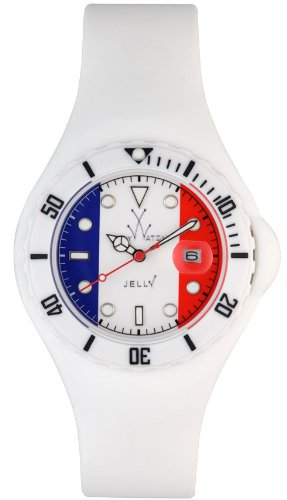 ToyWatch Jelly Flag France Only Time Unisex Plasteramic White Rubber Watch JYF02FR