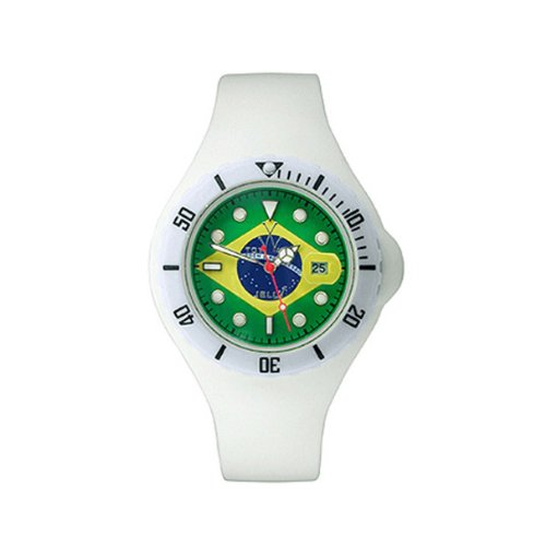 ToyWatch Jelly Flag Brazil Only Time Unisex Plasteramic White Rubber Watch JYF05BR World Cup Soccer Souveneir Fotebol Bandeira do Brasil