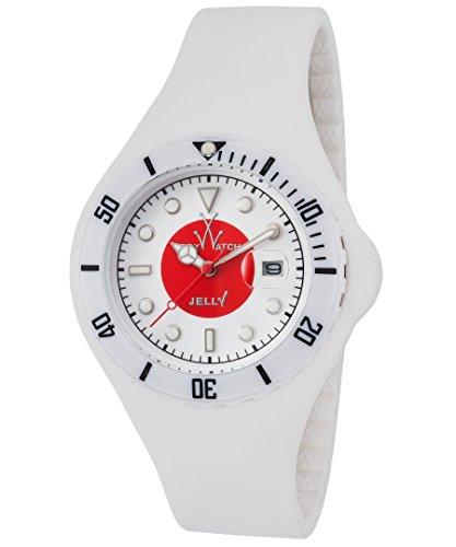 ToyWatch Jelly Unisex Armbanduhr 45mm Armband Silikon Weiss Gehaeuse Plastik Quarz Zifferblatt Weiss JYF04JP