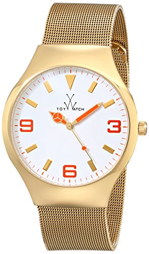 ToyWatch Unisexuhr Mesh Collection Armband Edelstahl Analog Quarz 3 Bar Mineralglas rund One Size gold weiss MH11GD
