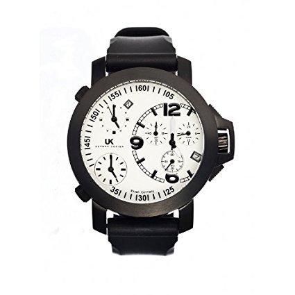 Uhr kraft UHR23433 6WR Herren Stailess schwarz Silikon Band weisses Zifferblatt Helicop Watch