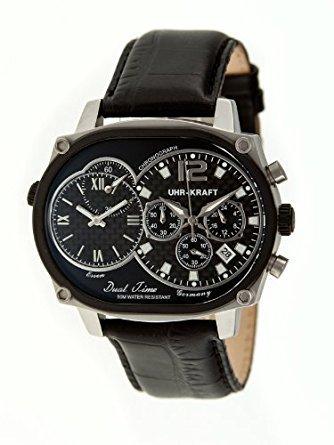 Uhr kraft UHR27004 2 Herren Stailess schwarz Lederband schwarz Dial Dualtimer Watch