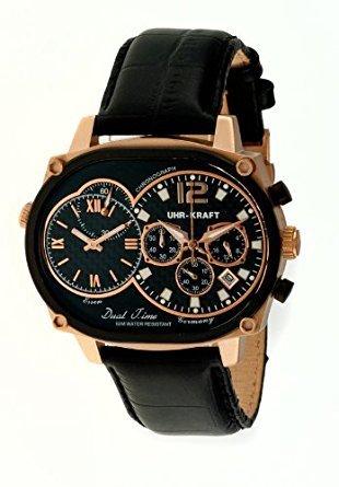 Uhr kraft UHR27004 2RG Herren Stailess schwarz Lederband schwarz Dial Dualtimer Watch