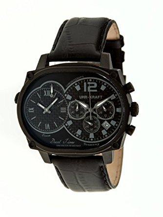 Uhr kraft UHR27004 2B Herren Stailess schwarz Lederband schwarz Dial Dualtimer Watch