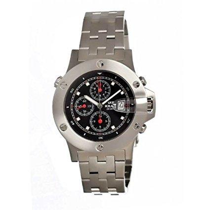 Uhr kraft UHR603 2M Herren Stailess Silber Armband Band Black Dial Watch