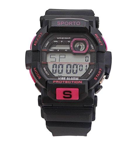 Weile jungen Designer Sporto schwarz rosa Sport Digitaluhr Kunststoffband retro Stil zu sehen