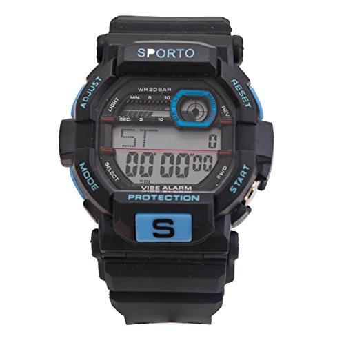 Weile jungen Designer Sporto Schwarz und hellblau Sport Digitaluhr Kunststoffband retro Stil zu sehen