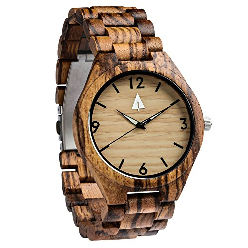 treehut Herren Zebrano und Ebenholz Holz Uhr mit alle Holz Band Quarz Analog mit Uhrwerk und Edelstahl Tri Fold Schliesse mit Druckknoepfen Freund Geschenk 4 3 cm