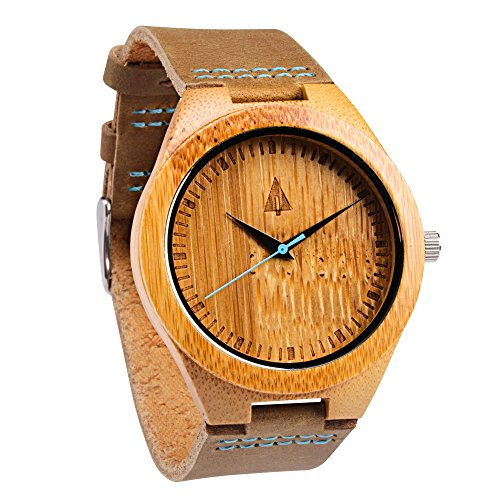 treehut Herren Holz Armbanduhr mit echtem Braun Lederband Quarz Analog Bambus mit Qualitaet Miyota Bewegung 4 3 cm