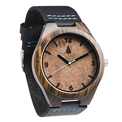 treehut Herren Schwarz Walnuss Wurzelholz Holz Armbanduhr mit echtem schwarzem Lederband Quarz Analog mit Qualitaet Miyota Bewegung 4 3 cm