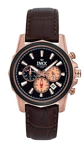 Inex Herren-Armbanduhr Chronograph Quarz Leder 10 bar A58861D5I