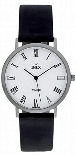 Inex Herren - Armbanduhr Analog Quarz Titan Saphirglas Leder A69275T0X