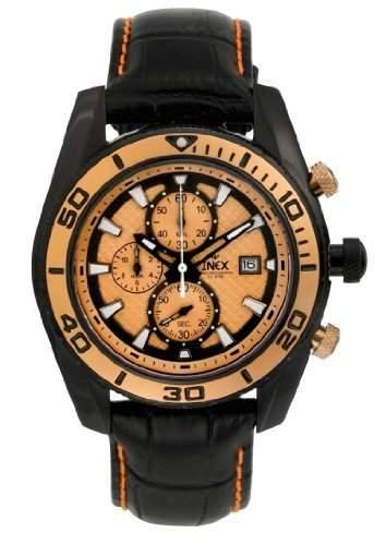 Inex Herren - Armbanduhr Analog Quarz Chronograph Leder schwarz A58854SS7I