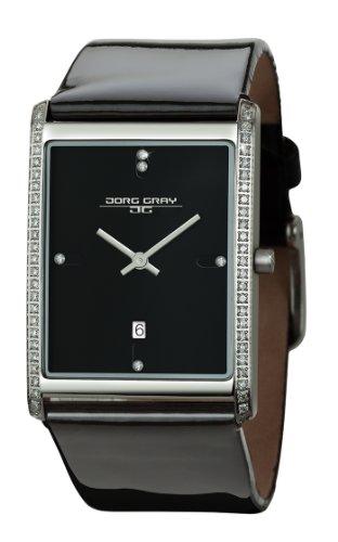 Joerg Gray Damen Analog Armbanduhr JG2600 12 mit schwarzem Zifferblatt und Lederband