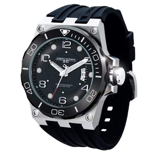 Jorg Gray Herren-Armbanduhr XL Divers Date Display Watch Analog Edelstahl JG9600-12