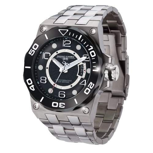 Jorg Gray Herren-Armbanduhr XL Divers Date Display Watch Analog Edelstahl JG9600-13