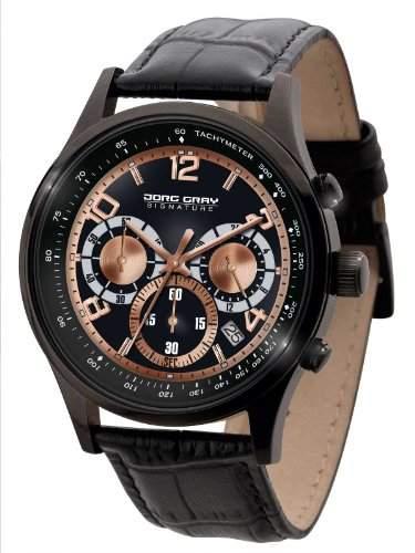 Jorg Gray Herren-Armbanduhr XL Analog Quarz Leder JGS3570