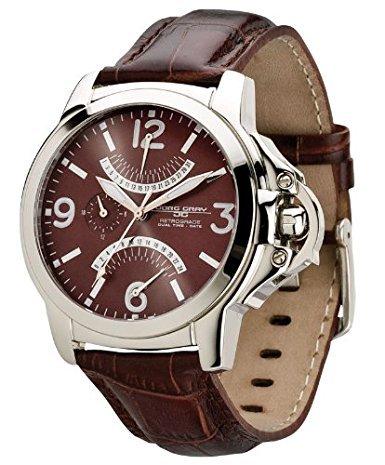 Jorg Gray JG1850 13 Herren 1850 Serie Dual Time Braun Lederarmband Braun Zifferblatt Uhr