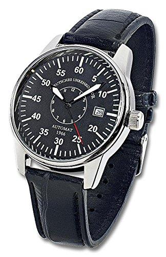 DUK Deutsches Uhrenkontor Automatik Armbanduhr Mod 1966 schwarz Echtleder