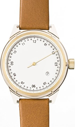 squarestreet sq03 a 14 Unisex Minuteman Acetat Fall Braun Leder weiss Zifferblatt Gold Watch