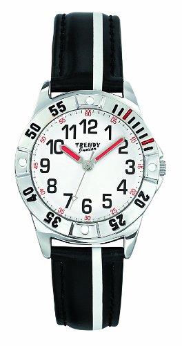 Trendy Junior Unisex Armbanduhr Analog Leder weiss KL221