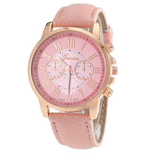 Analog Quarz Luxus Fashion Elegant Roemische Ziffer Fake Mechanisch mit Pink Lederband Pink