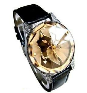 Damen Schoene Pretty Cute Elegant Fashion Schwarz Kitty Cat Armband Armbanduhr 3 Farben in Store