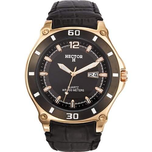 Hector H Herren-Armbanduhr Analog Quarz Leder 666001