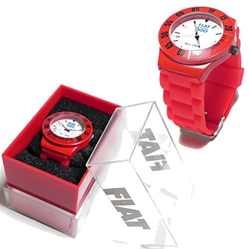FIAT 500 rot Metall Armbanduhr Luci Benzina Olio