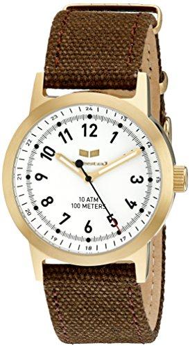 Vestal abc3 C04 Alpha Bravo Leinwand Armbanduhr Braun Gold Weiss