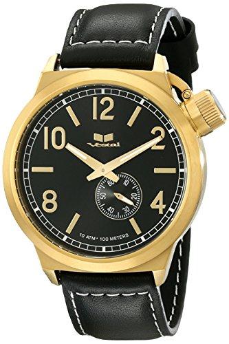 Vestal ctn3l13 Kantine Leder Armbanduhr schwarz gold schwarz