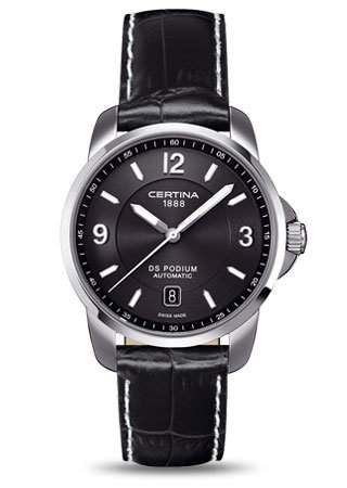 Certina Herren-Armbanduhr XL Analog Automatik Leder C0014071605700
