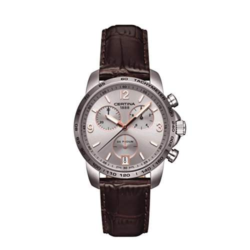 Certina Herren-Armbanduhr XL Chronograph Quarz Leder C0014171603701