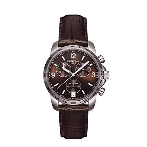 Certina Herren-Armbanduhr XL Chronograph Quarz Leder C0014171629700