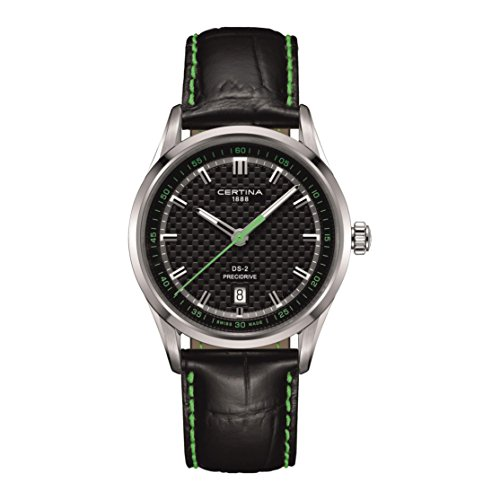 Certina DS 2 Herren Armbanduhr Armband Leder Schwarz Gehaeuse Edelstahl Batterie Analog C024 410 16 051 02