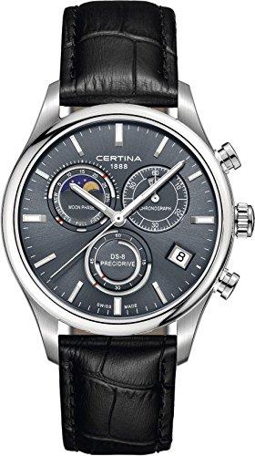 Certina Herren Armbanduhr 42mm Armband Leder Schwarz Gehaeuse Edelstahl Batterie Analog C033 450 16 351 00