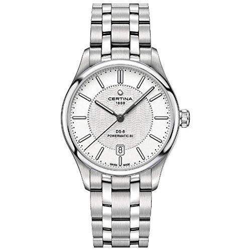 Certina DS 8 Herren Armbanduhr Armband Edelstahl Gehaeuse Automatik Zifferblatt Silber C033 407 11 031 00