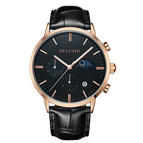 Herren tagsueber und Night Display Uhren Full Echtleder Stecker Wasserdicht Casual Kleid Sport Handgelenk Uhren
